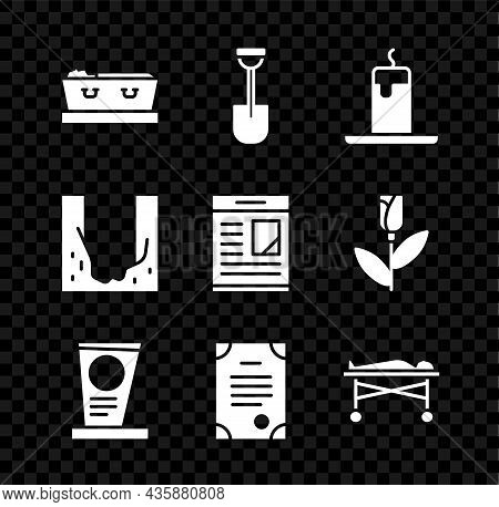 Set Coffin With Dead, Shovel, Burning Candle, Grave Tombstone, Death Certificate, Dead Body The Morg