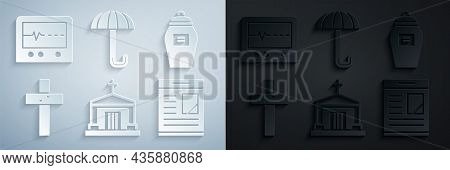Set Old Crypt, Funeral Urn, Christian Cross, Obituaries, Umbrella And Beat Dead In Monitor Icon. Vec