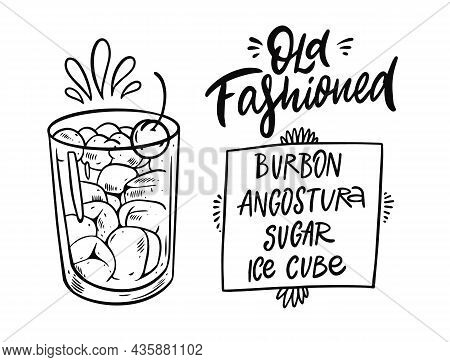 Old Fashioned Cocktail. Hand Drawn Black Color Outline Style.