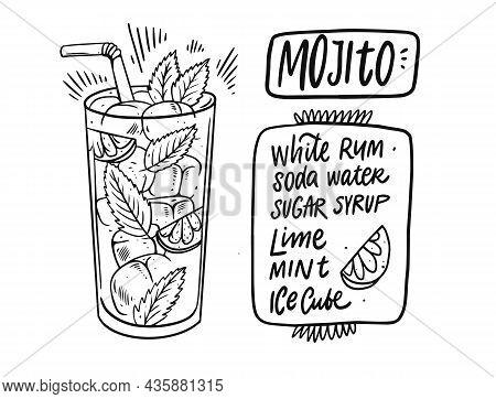 Mojito Cocktail Recipe. Hand Drawn Black Color Outline Style.