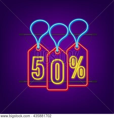 50 Percent Off Sale Discount Neon Tag. Discount Offer Price Tag. 50 Percent Discount Promotion Flat