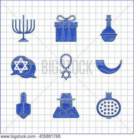 Set Star Of David Necklace On Chain, Orthodox Jewish Hat, Pomegranate, Traditional Ram Horn, Shofar,