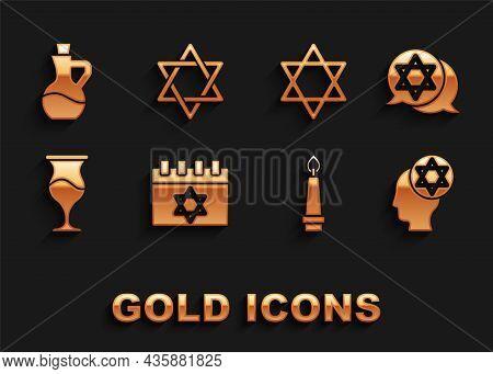 Set Jewish Calendar, Star Of David, Orthodox Jewish Hat, Burning Candle, Goblet, Bottle Olive Oil An