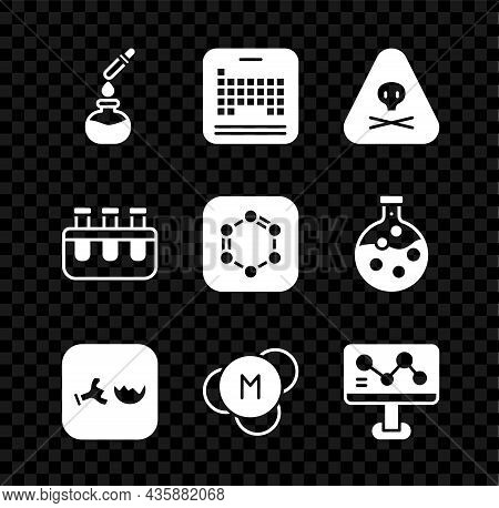 Set Test Tube And Flask, Periodic Table, Triangle Warning Toxic, Broken, Molecule, Chemical Formula,