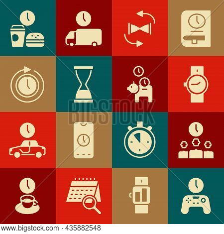Set Gamepad Of Time, Time Management, Wrist Watch, Old Hourglass With Sand, Clock Arrow, Fast Food A