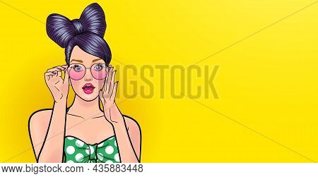 Amazed Young Woman In Glasses Look Wow Somthing Pop Art Comics Style.