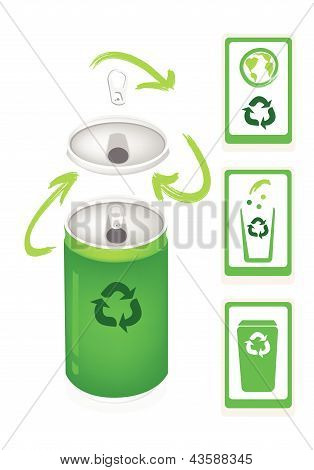 Aluminum Can With Recycle Symbol And Trash Can