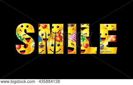 Smile Slogan For T Shirt Print Design. Seamless Pattern Of Happy Face 3d Icon. Smiling Emoticon Text