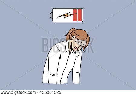 Exhaustion And Low Energy Concept. Young Sad Depressed Tired Woman Office Worker Standing With Hands