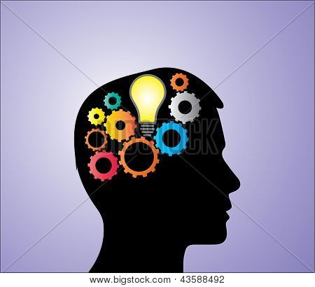 Concept Illustration Of Solution Or Idea Creation: A Bright Light Bulb And Bright Mechanical Gears I