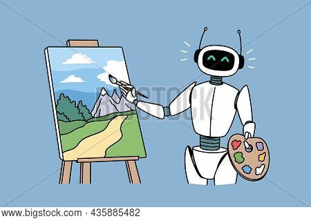 Robotic Technologies In Hobbies Concept. Positive Robot Standing And Drawing Artwork Picture Landsca