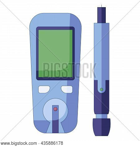 Glucose Meter Vector Illustration. Diabetes Blood Glucose Test. Modern Electronic Icon In A Flat Sty