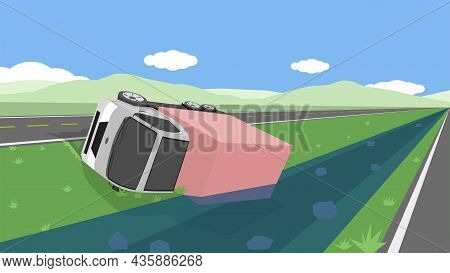 Accident With A Cartoon Of Container Truck Falling Off The Road. Flipped Over And Fell Into A Stream