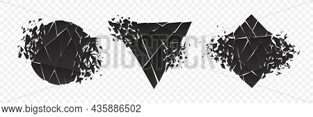 Shape Explosion Broken And Shattered Flat Style Design Vector Illustration Set Isolated On Transpare