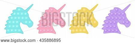 Set Of Popit Unicorn In Style A Fashionable Silicon Fidget Toys. Addictive Antistress Toy In Pastel
