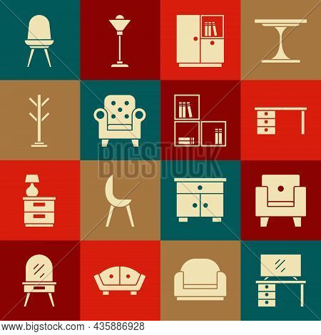 Set Tv Table Stand, Armchair, Office Desk, Wardrobe, Coat, Chair And Shelf With Books Icon. Vector