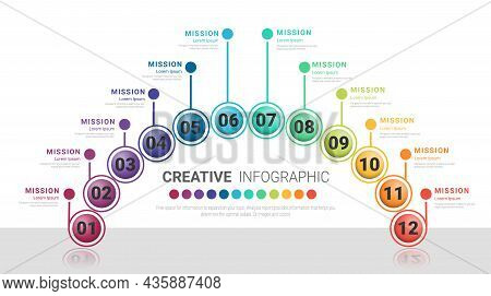 Presentation Business Infographic Template For 12 Options, Steps Or Processes.