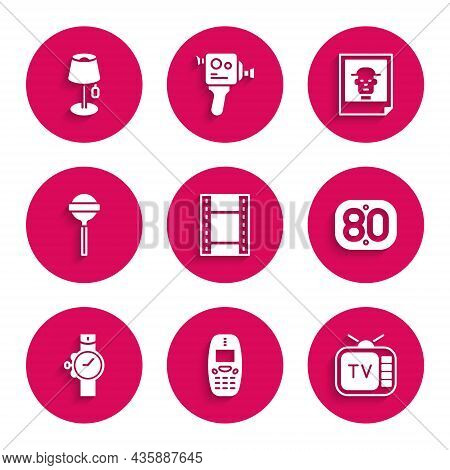 Set Play Video, Old Mobile Phone, Retro Tv, 80s, Wrist Watch, Lollipop, Photo And Floor Lamp Icon. V