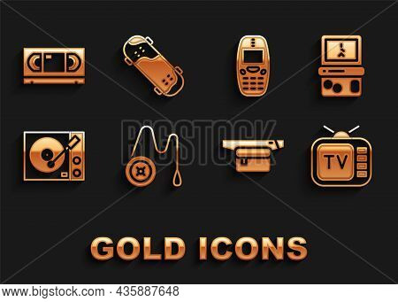 Set Yoyo Toy, Tetris, Retro Tv, Waist Bag Of Banana, Vinyl Player, Old Mobile Phone, Vhs Video Casse