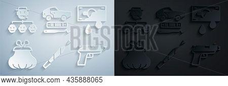 Set Marijuana Joint, Bloody Money, Wallet, Pistol Or Gun, Car Theft And Mafia Icon. Vector