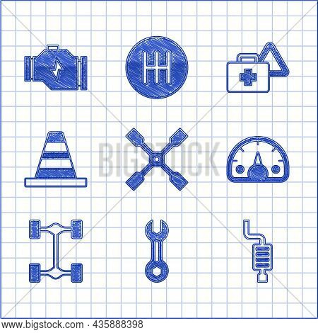 Set Wheel Wrench, Wrench Spanner, Car Muffler, Speedometer, Chassis Car, Traffic Cone, First Aid Kit