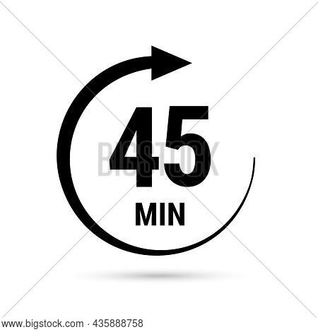 45 Minute Vector Icon, Stopwatch Symbol, Countdown. Isolated Illustration With Timer.