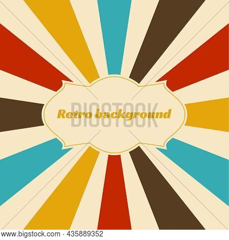 Old Vintage Retro Background With Sunbeams. Vector Illustration With Beige, Blue Brown Red Yellow Ra