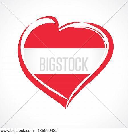 Love Austria Flag Emblem. Austrian Flag In Heart Shape For Austrian National Day October 26, Isolate