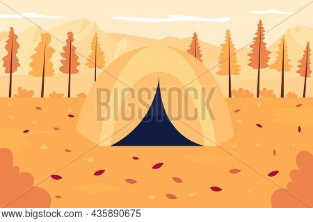 Autumn Outdoor Recreation Flat Color Vector Illustration. Tent In Seasonal Scenery. Expedition To Fa