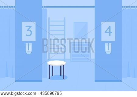 Diagnostics Room Blue Flat Color Vector Illustration. Space For Patient Reception For Examination. P