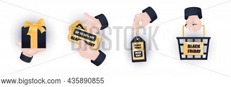 Black Friday Graphic Concept Hands Set. Human Hands Holding Gift, Sign With Discount Prices, Label W