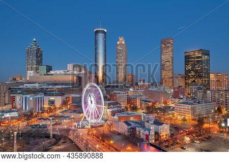 Atlanta, Georgia, USA downtown skyline at dawn.