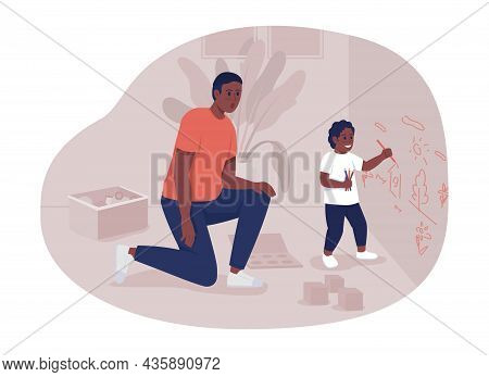 Father Looking After Toddler 2d Vector Isolated Illustration. Dad And Son Flat Characters On Cartoon