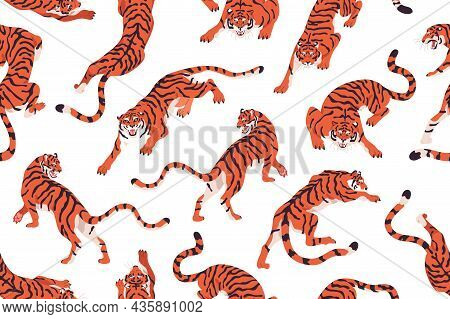 Seamless Pattern With Angry Tigers. Endless Repeating Background With Evil Wild Felines Prowling And