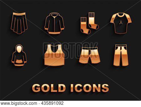 Set Undershirt, T-shirt, Pants, Short Or Pants, Hoodie, Socks, Skirt And Icon. Vector