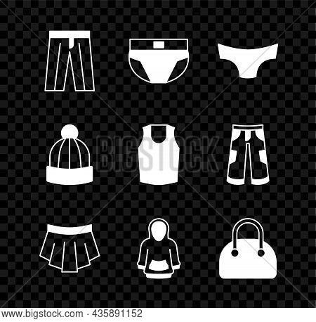 Set Pants, Men Underpants, Skirt, Hoodie, Handbag, Winter Hat And Undershirt Icon. Vector