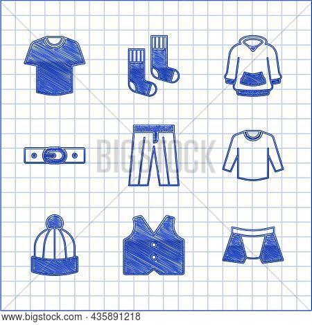 Set Pants, Waistcoat, Men Underpants, Sweater, Winter Hat, Belt, Hoodie And T-shirt Icon. Vector