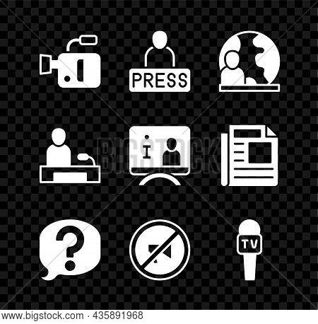 Set Cinema Camera, Journalist News, World, Speech Bubble Chat, Censored Stamp, Microphone, Televisio