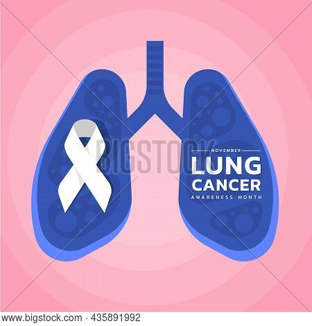 November, Lung Cancer Awareness Month Text And White Ribbon In Blue Lung Symbol On Soft Pink Backgro