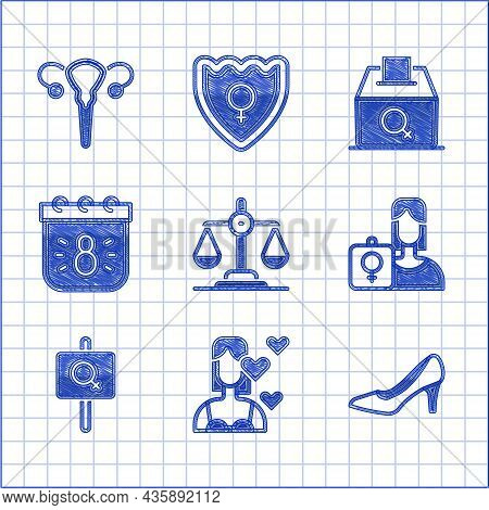 Set Gender Equality, Love Yourself, Woman Shoe, Feminist Activist, Calendar With 8 March, Female Vot