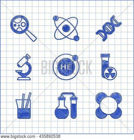 Set Helium, Test Tube, Molecule, With Toxic Liquid, Laboratory Glassware, Microscope, Dna Symbol And