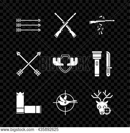 Set Hipster Arrows, Two Crossed Shotguns, Gun Shooting, Cartridges, Hunt On Duck With Crosshairs, De
