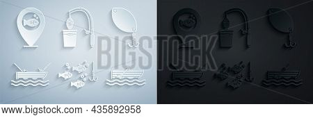 Set Fishing Hook Under Water With Fish, Spoon, Boat Fishing Rod, Oars, And And Location Icon. Vector