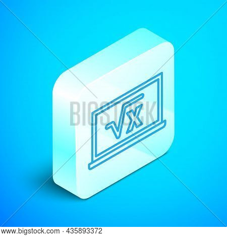 Isometric Line Square Root Of X Glyph On Chalkboard Icon Isolated On Blue Background. Mathematical E