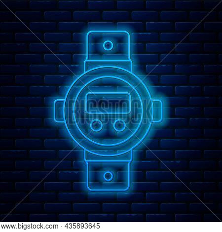 Glowing Neon Line Diving Watch Icon Isolated On Brick Wall Background. Diving Underwater Equipment.