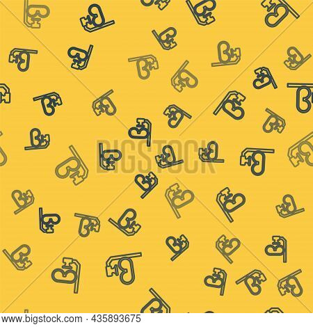 Blue Line Diving Mask And Snorkel Icon Isolated Seamless Pattern On Yellow Background. Extreme Sport