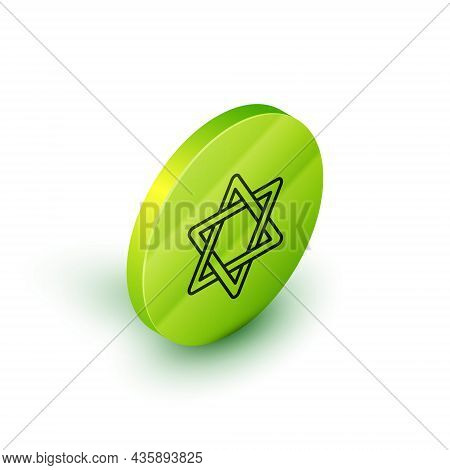 Isometric Line Star Of David Icon Isolated On White Background. Jewish Religion Symbol. Symbol Of Is
