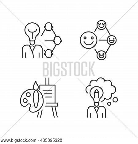 Creative And Professional Talents Linear Icons Set. Leadership And Influence Aptitude. Artistic Tale