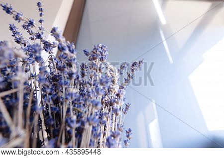 Bunch Of Lavender Flowers With Abstract Office Glass Background - Calm Scent Of Bio Organic Bouquet