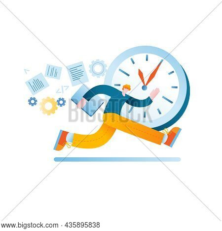 A Person With A Laptop Is Trying To Catch Up With The Time. Vector Illustration In A Flat Style On T